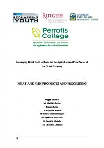 MEAT AND FISH PRODUCTS AND PROCESSING
