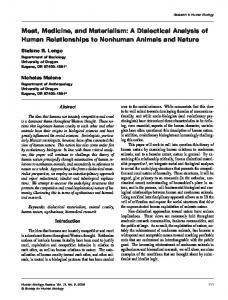 Meat, Medicine, and Materialism: A Dialectical Analysis of Human Relationships to Nonhuman Animals and Nature