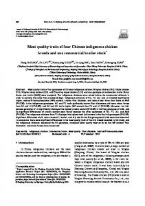 Meat quality traits of four Chinese indigenous chicken breeds and one commercial broiler stock *