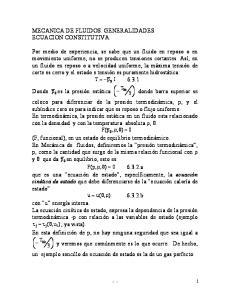 MECANICA DE FLUIDOS. GENERALIDADES ECUACION CONSTITUTIVA