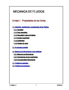 MECANICA DE FLUIDOS. Unidad 1 Propiedades de los fluidos. 1.1 Definición, clasificación y propiedades de los Fluidos. 1.1