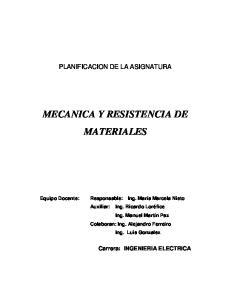 MECANICA Y RESISTENCIA DE MATERIALES