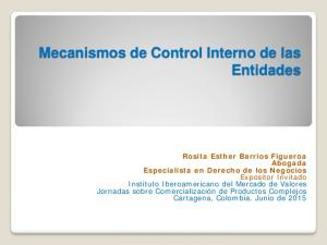 Mecanismos de Control Interno de las Entidades