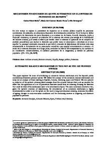 MECANISMOS FINANCIEROS DE AJUSTE AUTOMATICO EN EL SISTEMA DE PENSIONES DE REPARTO *