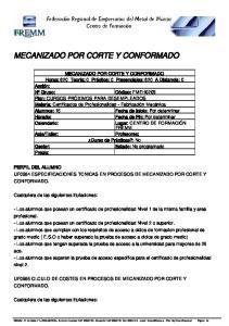 MECANIZADO POR CORTE Y CONFORMADO