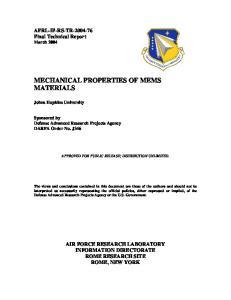 MECHANICAL PROPERTIES OF MEMS MATERIALS