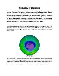 MECHANISM OF OZONE HOLE