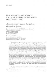 Mechanisms involved in the spelling of words in Spanish