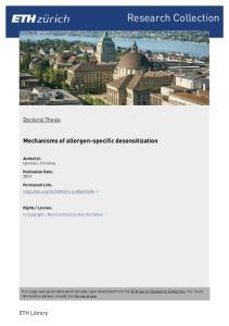 Mechanisms of allergen-specific desensitization