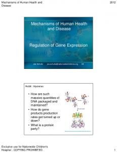 Mechanisms of Human Health and Disease. Regulation of Gene Expression