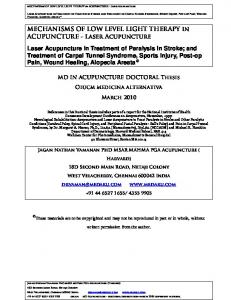 MECHANISMS OF LOW LEVEL LIGHT THERAPY in ACUPUNCTURE - Laser Acupuncture