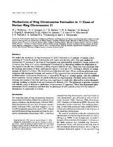 Mechanisms of Ring Chromosome Formation in I I Cases of Human Ring Chromosome 21