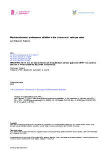 Mechanochemical endovenous ablation in the treatment of varicose veins van Eekeren, Ramon