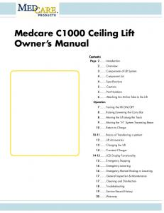 Medcare C1000 Ceiling Lift Owner s Manual