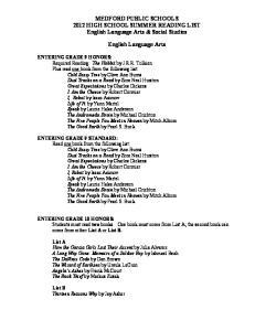 MEDFORD PUBLIC SCHOOLS 2012 HIGH SCHOOL SUMMER READING LIST English Language Arts & Social Studies. English Language Arts