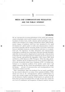 MEDIA AND COMMUNICATIONS REGULATION AND THE PUBLIC INTEREST