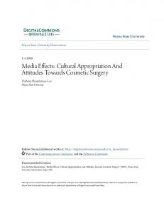 Media Effects: Cultural Appropriation And Attitudes Towards Cosmetic Surgery