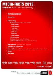 MEDIA-FACTS Preislisten Radio- und Onlinewerbung INHALTSVERZEICHNIS. Das sind wir. Radiowerbung