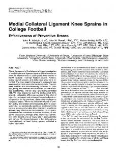 Medial Collateral Ligament Knee Sprains in College Football Effectiveness of Preventive Braces