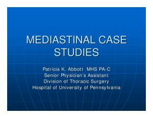 MEDIASTINAL CASE STUDIES