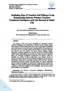 Mediating Role of Teachers Self-Efficacy in the Relationship between Primary Teachers Emotional Intelligence and Job Burnout in Babol City