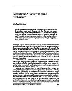 Mediation: A Family Therapy Technique?