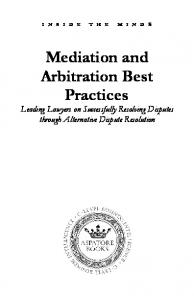 Mediation and Arbitration Best Practices