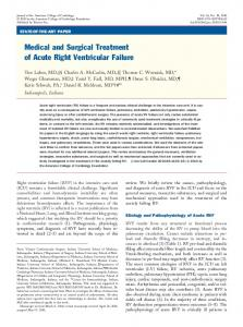 Medical and Surgical Treatment of Acute Right Ventricular Failure
