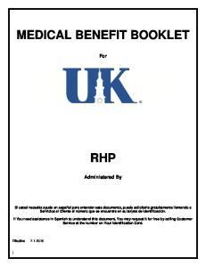 MEDICAL BENEFIT BOOKLET