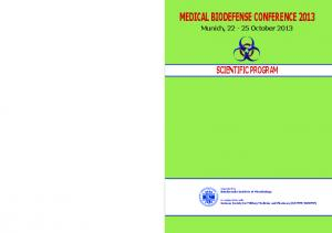 Medical Biodefense Conference 2013