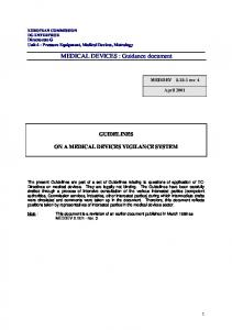 MEDICAL DEVICES : Guidance document
