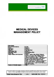 MEDICAL DEVICES MANAGEMENT POLICY