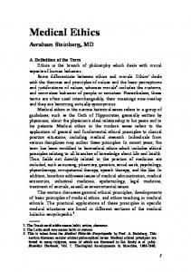 Medical Ethics. Avraham Steinberg, MD