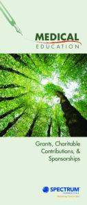 MEDICAL. Grants, Charitable Contributions, & Sponsorships