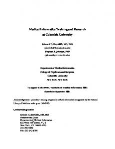 Medical Informatics Training and Research at Columbia University