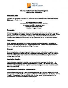 Medical Laboratory Science Program Application Procedure