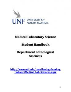 Medical Laboratory Science. Student Handbook. Department of Biological Sciences