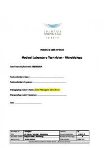 Medical Laboratory Technician - Microbiology