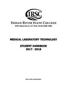 MEDICAL LABORATORY TECHNOLOGY STUDENT HANDBOOK