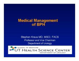 Medical Management of BPH