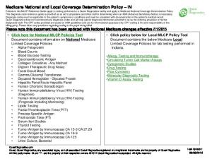 Medicare National and Local Coverage Determination Policy IN