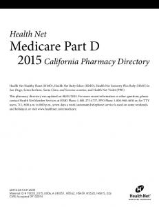 Medicare Part D 2015 California Pharmacy Directory