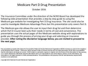Medicare Part D Drug Presentation