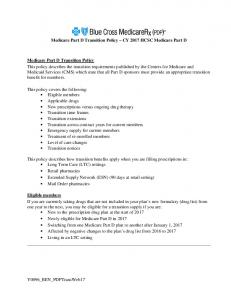 Medicare Part D Transition Policy CY 2017 HCSC Medicare Part D