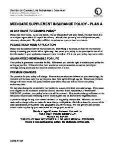 MEDICARE SUPPLEMENT INSURANCE POLICY - PLAN A