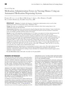 Medication Administration Errors in Nursing Homes Using an Automated Medication Dispensing System