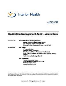 Medication Management Audit Acute Care