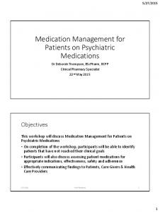 Medication Management for Patients on Psychiatric Medications