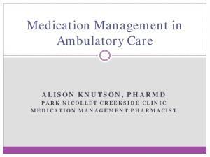 Medication Management in Ambulatory Care