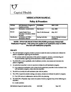 MEDICATION MANUAL Policy & Procedure